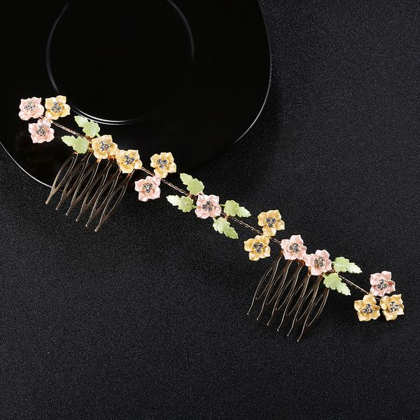 Imitated crystal&CZ Fashion Flowers Hair accessories  (yellow) NHHS0132-yellow