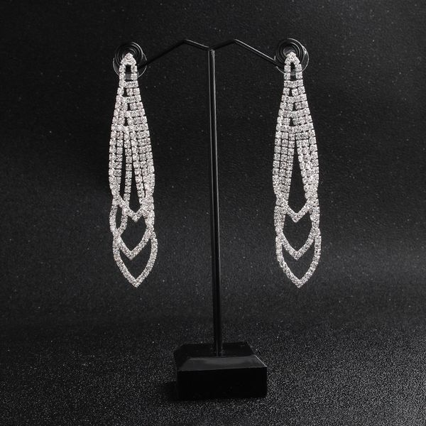 Alloy Fashion Geometric earring  (Alloy white rhinestone) NHHS0153-Alloy white rhinestone