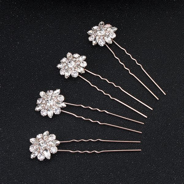 Imitated crystal&CZ Fashion Geometric Hair accessories  (Rose alloy) NHHS0183-Rose alloy