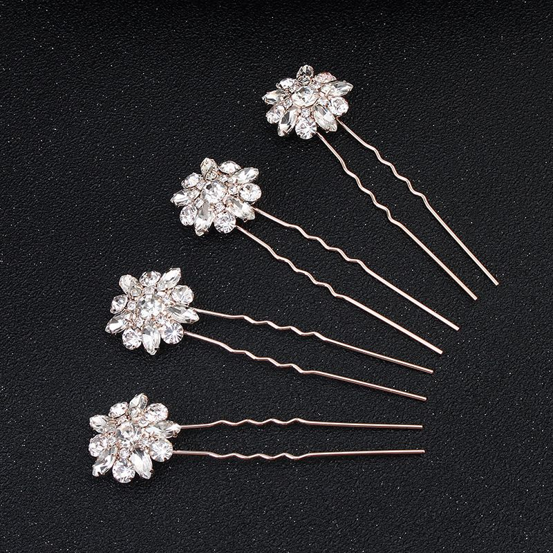 Imitated crystalCZ Fashion Geometric Hair accessories  Rose alloy NHHS0183Rose alloy