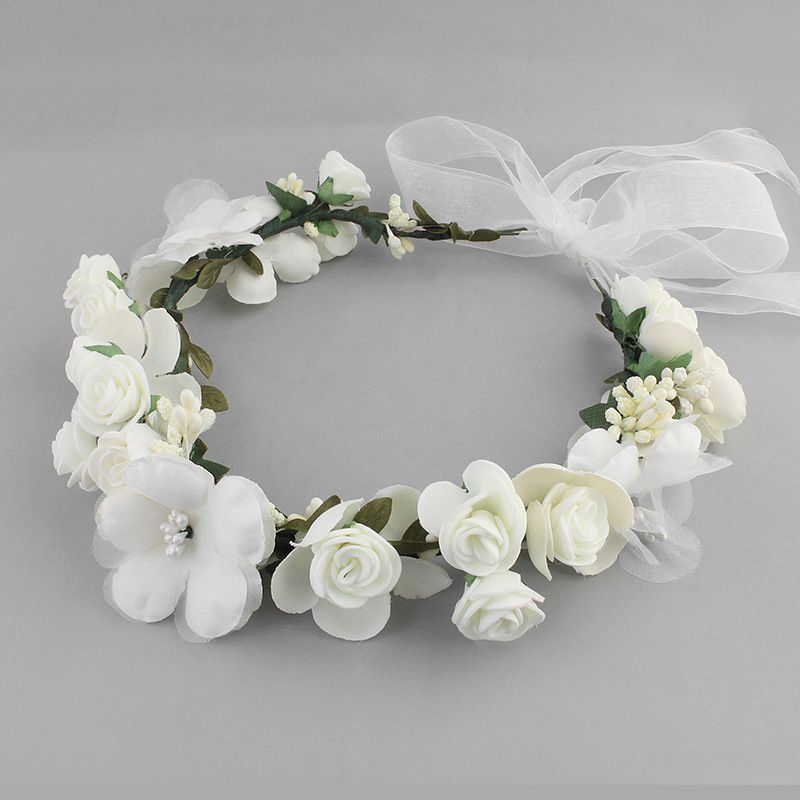 Cloth Simple Flowers Hair accessories  white NHHS0315white