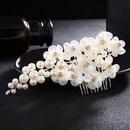 Beads Fashion Flowers Hair accessories  white NHHS0222white