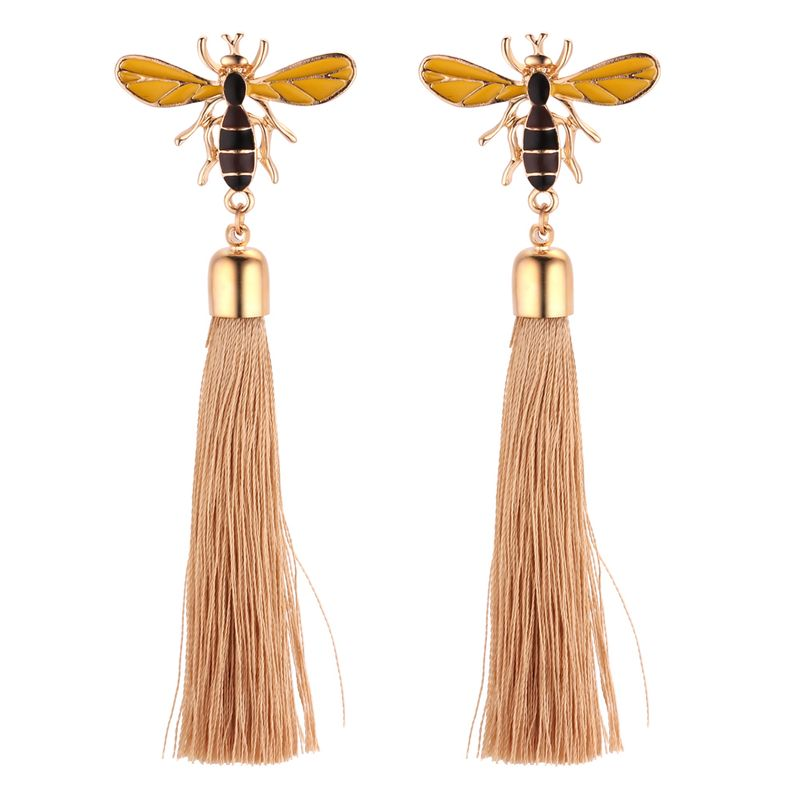 Korean version of the retro personality bees silk thread tassel earrings (yellow) NHNPS4339