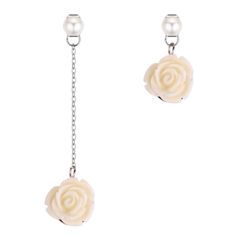 Korean version of simple temperament asymmetry rose beads earrings (white) NHNPS4342