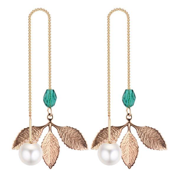Korean fashion temperament small fresh metal leaf tassel cord (green) NHNPS4346