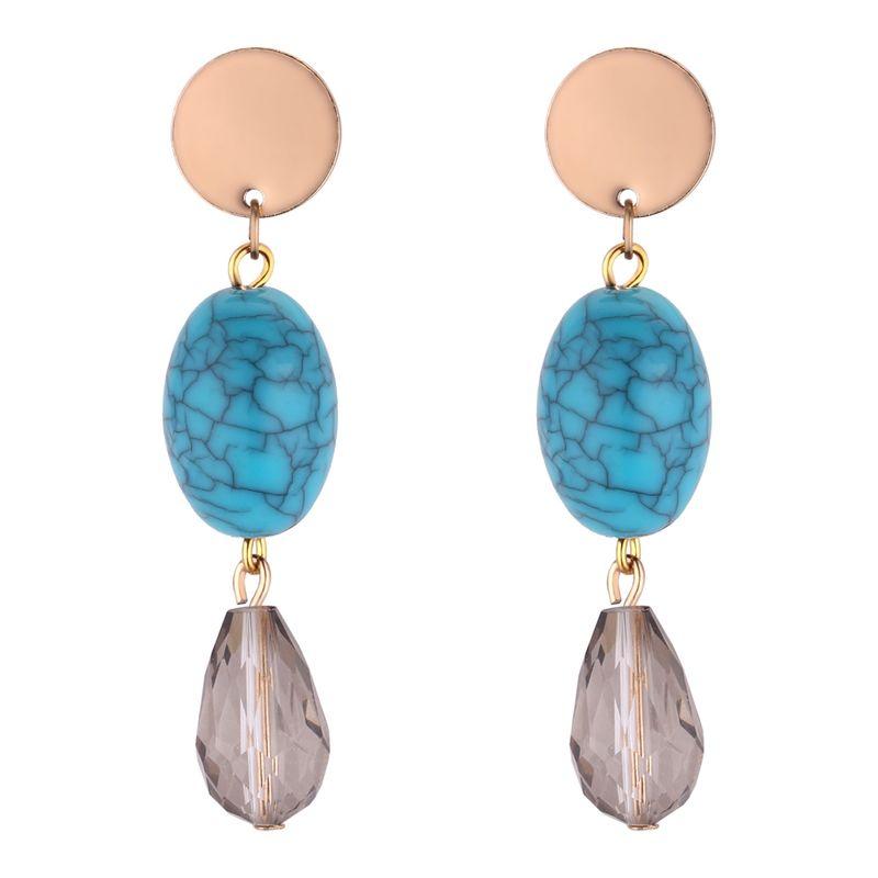 Korean version of the simple oval drop long round earrings (blue) NHNPS4356