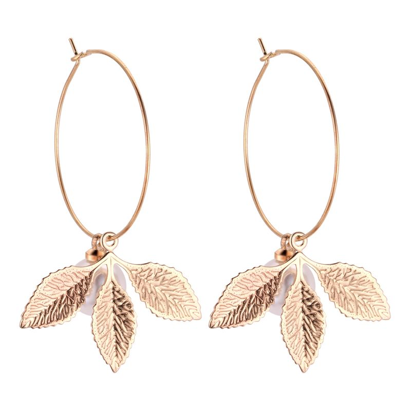 Europe and the United States fashion three leaf beads earrings NHNPS4358