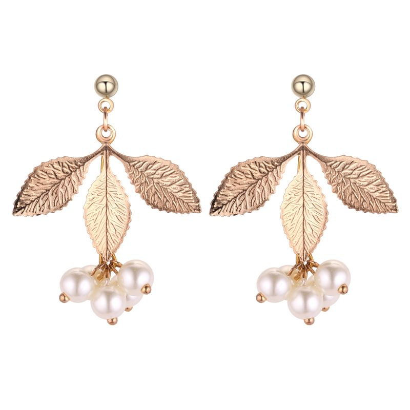 Korean fashion trend temperament three leaf beads fringe earrings (white) NHNPS4359