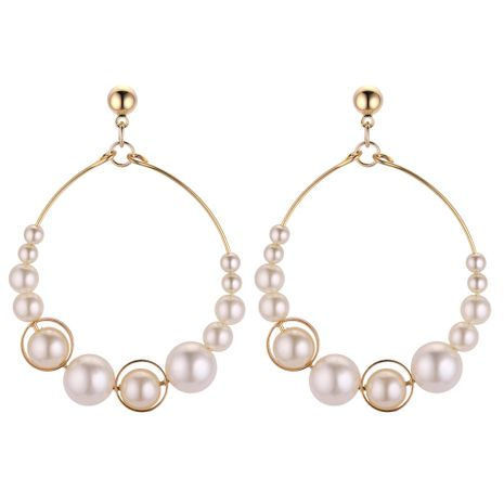 Korean fashion exaggerated ring beaded metal ball studs NHNPS4363's discount tags
