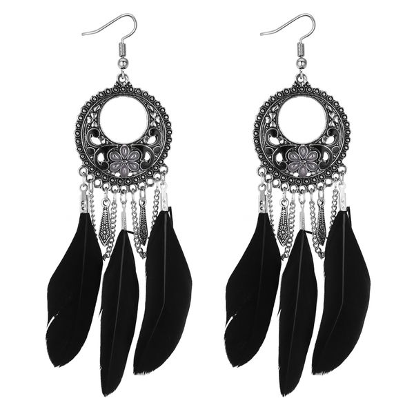 European and American vintage ring carved feather tassel earrings (black) NHNPS4367