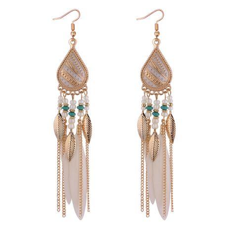 Boucles d'oreilles à pampilles en plumes de tempérament de mode européenne et américaine (blanc) NHNPS4371's discount tags