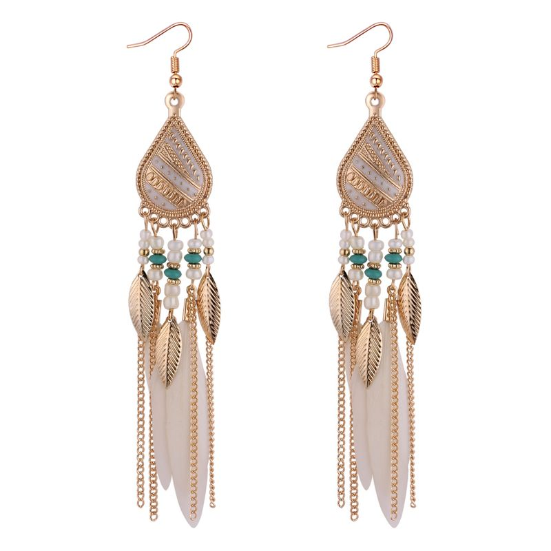 European and American Fashion Temperament Feather Leaf Tassel Earrings (White) NHNPS4371