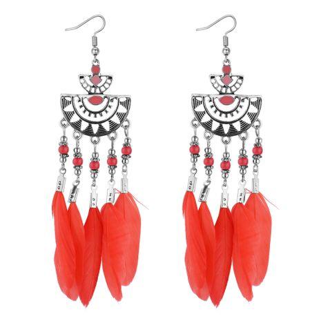 Boucles d'oreilles à pompon en plumes semi-circulaires de taille rétro européenne et américaine (rouge brique) NHNPS4375's discount tags