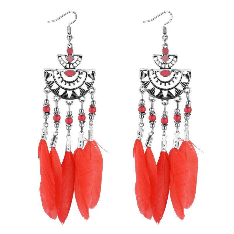 European and American retro size semi-circular feather tassel earrings (brick red) NHNPS4375