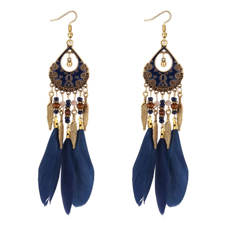 Europe and the United States retro ethnic style feather leaves tassel earrings (Tibetan blue) NHNPS4379