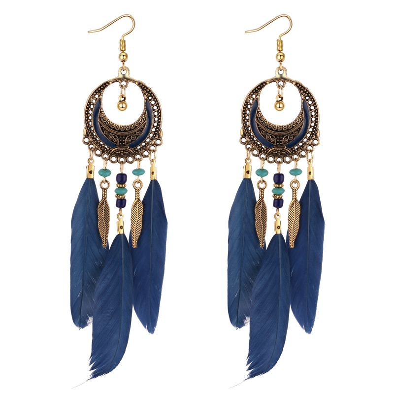 European and American vintage feather leaf tassel earrings (Tibetan blue) NHNPS4383