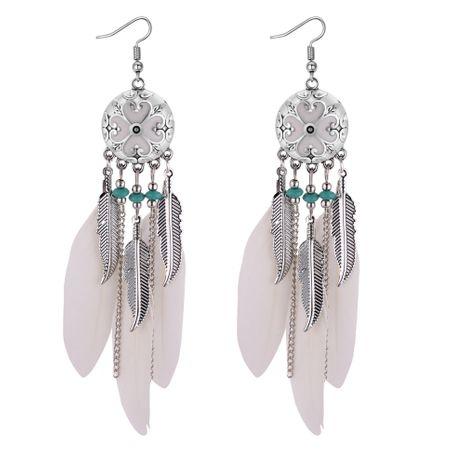 Boucles d'oreilles pompon en plumes de style folk européen et américain rétro (blanc) NHNPS4391's discount tags