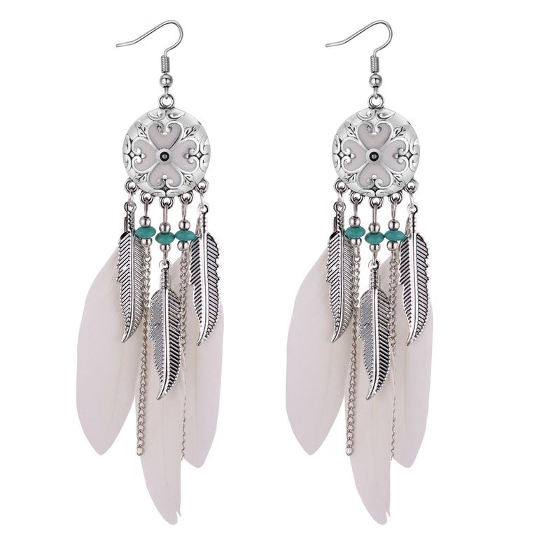 European and American retro folk style leaves feather tassel earrings (white) NHNPS4391