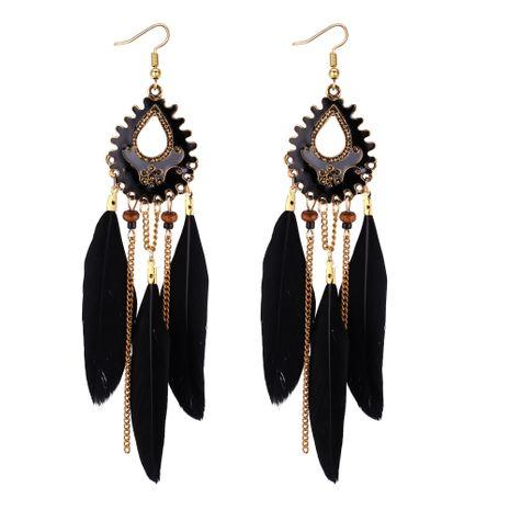 Boucles d'oreilles à pompon en plumes de Bohème européennes et américaines (noir) NHNPS4395's discount tags