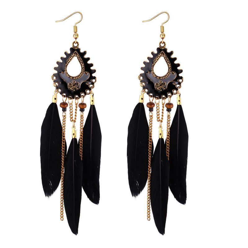 European and American Bohemian Feather Tassel Earrings (Black) NHNPS4395