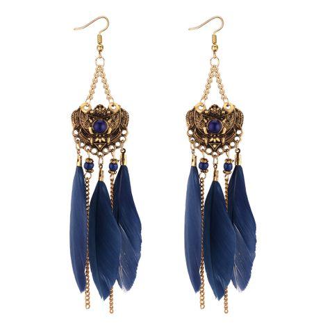 Boucles d'Oreilles Pompon Plume Ethnique Vintage Européen et Américain (Bleu) NHNPS4399's discount tags