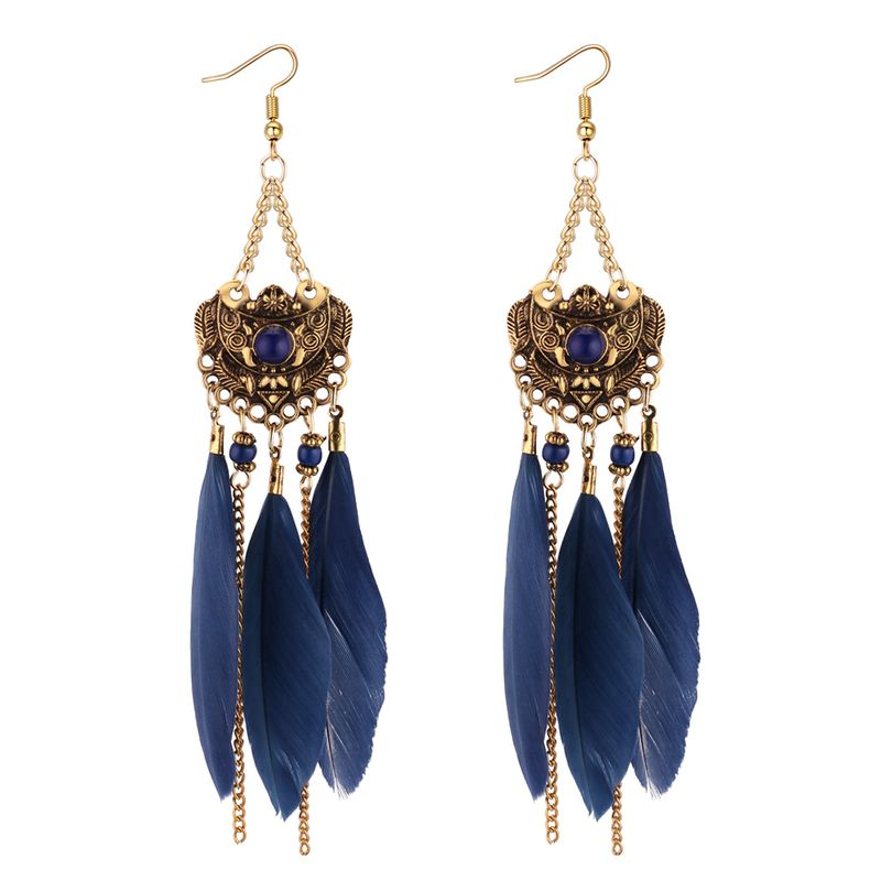 European and American Vintage Ethnic Feather Tassel Earrings (Blue) NHNPS4399
