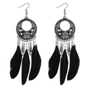 European and American vintage ring carved feather tassel earrings black NHNPS4367