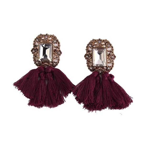 Occident alloy Geometric earring ( Red wine ) NHJQ5277