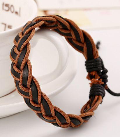 Leather Korea Geometric bracelet  (Rope light brown) NHPK1325-Rope light brown