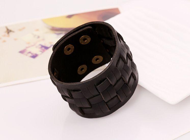 Leather Fashion Geometric bracelet  black NHPK1420black