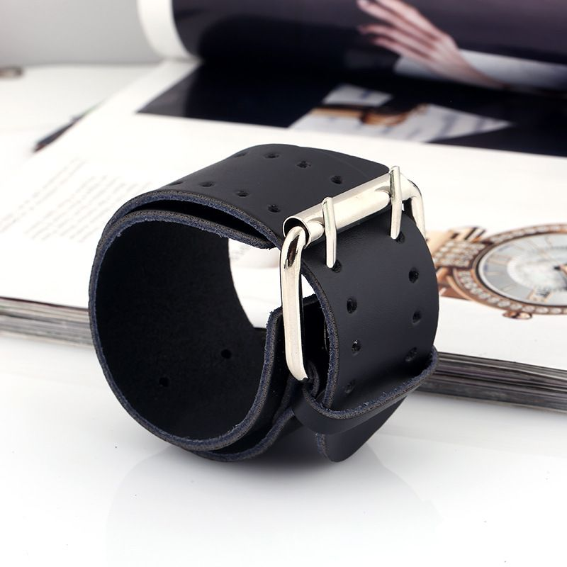 Leather Fashion Geometric bracelet  black NHPK1521black
