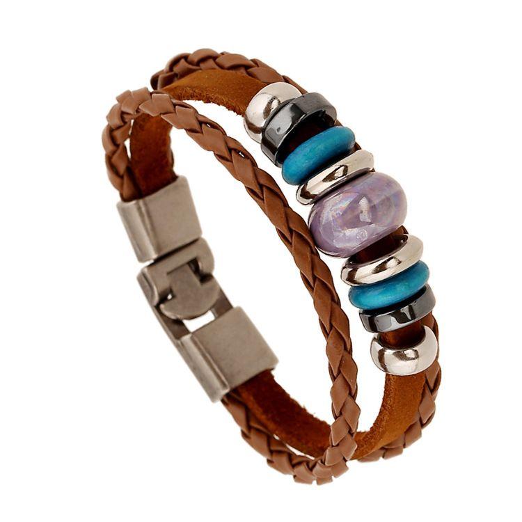 Leather Fashion Geometric bracelet  (Photo Color) NHPK1590-Photo Color