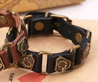 Leather Korea Geometric bracelet  (black) NHPK1699-black