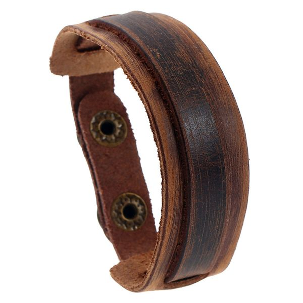 Leather Fashion Geometric bracelet  (Vintage brown) NHPK1997-Vintage brown