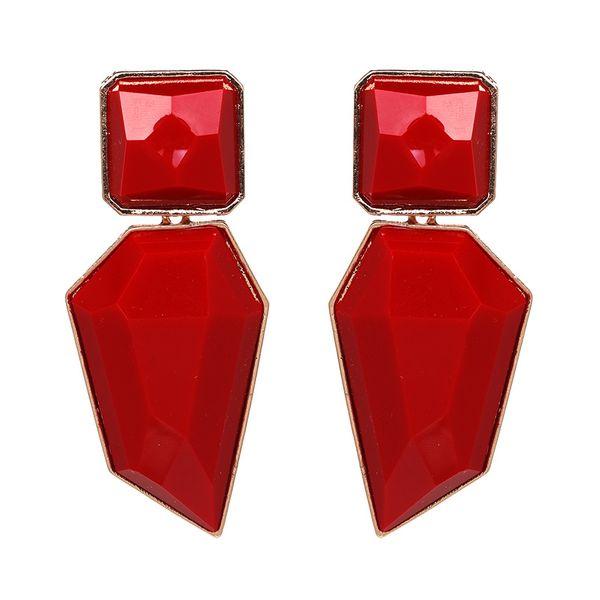 Plastic Simple Geometric earring  (red) NHJJ4884-red