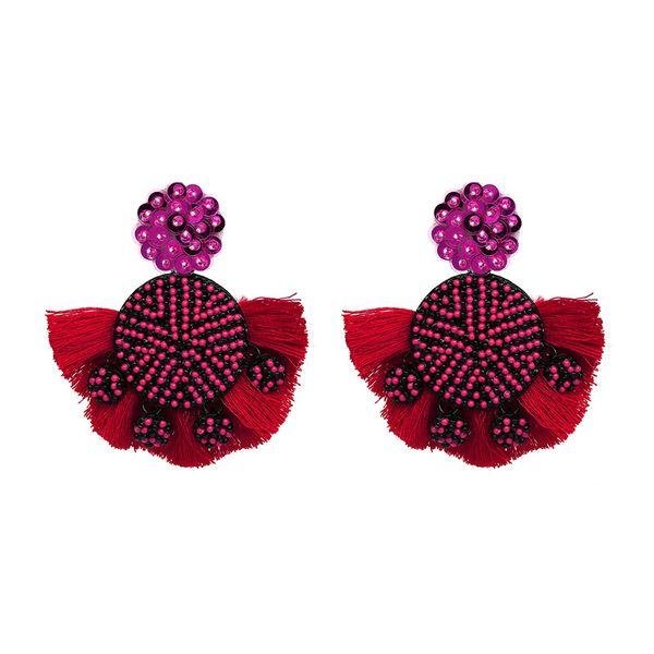 Alloy Fashion Tassel earring  (red) NHJJ4885-red