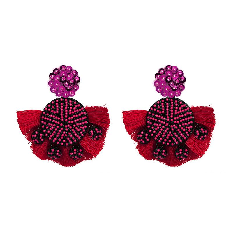 Alloy Fashion Tassel earring  (red) NHJJ4885-red