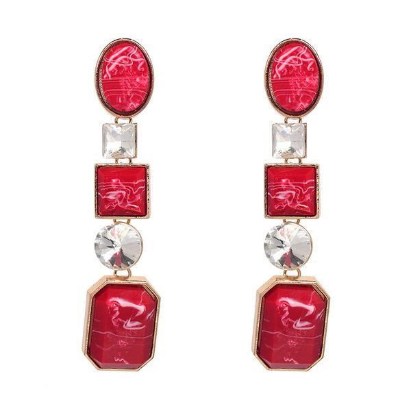Imitated crystal&CZ Fashion Geometric earring  (red) NHJJ4891-red