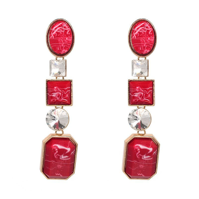 Imitated crystalCZ Fashion Geometric earring  red NHJJ4891red