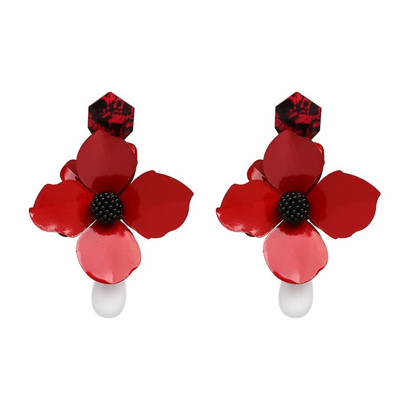 Alloy Fashion Flowers earring  (red) NHJJ4895-red
