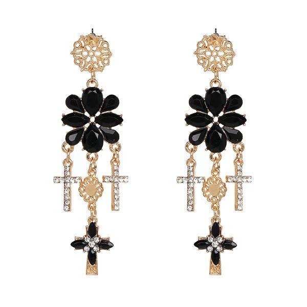Alloy Fashion Flowers earring  (black) NHJJ4896-black