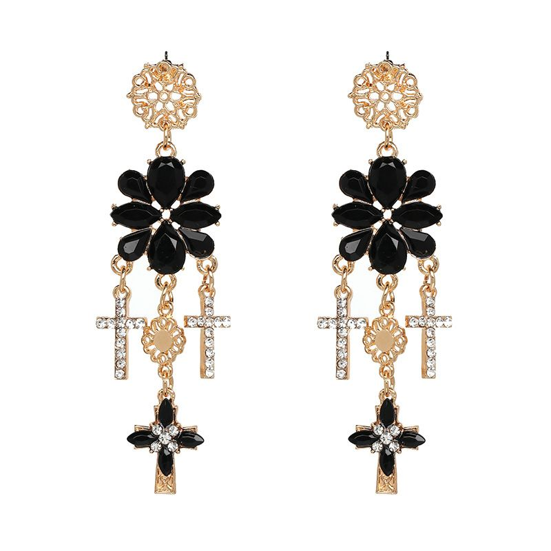 Alloy Fashion Flowers earring  black NHJJ4896black