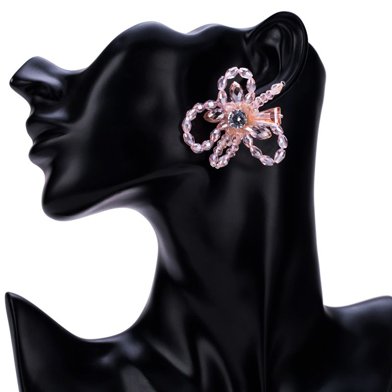Imitated crystal&CZ Fashion Flowers earring  (Pink) NHJE1514-Pink