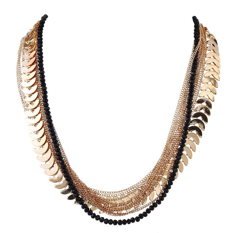Alloy Fashion Geometric necklace  (KC alloy black) NHKQ1708-KC-alloy-black