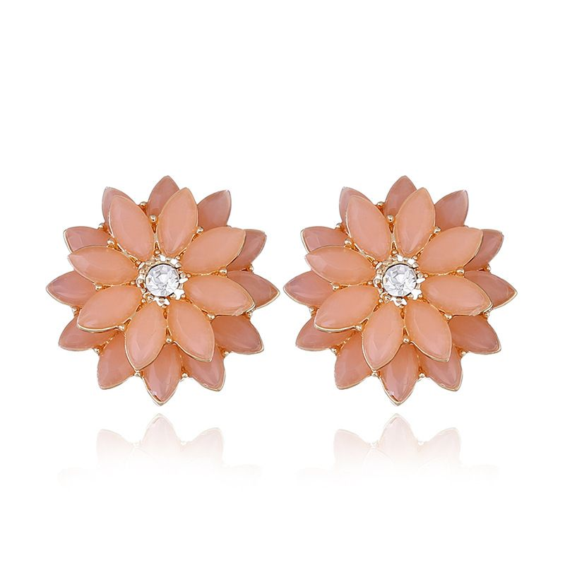 Alloy Fashion Flowers earring  (KC alloy pink) NHKQ1714-KC-alloy-pink