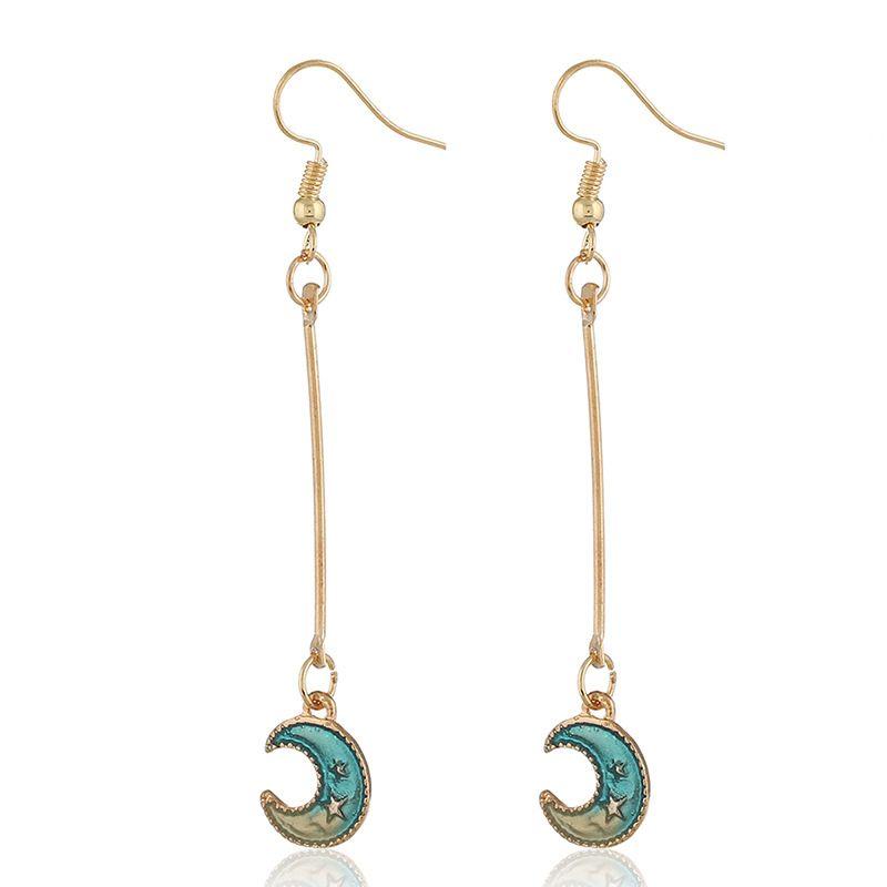 Alloy Korea Geometric earring  (KC alloy hole blue) NHKQ1716-KC-alloy-hole-blue