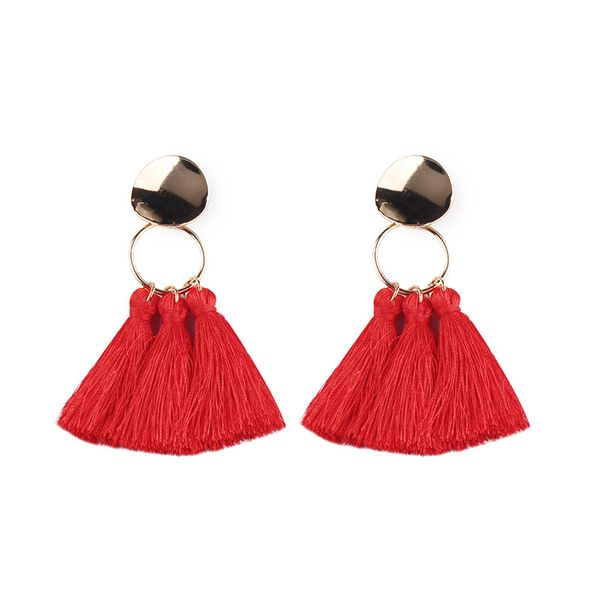 Alloy Fashion Tassel earring  (red) NHJQ10397-red