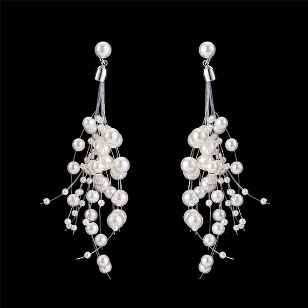 Alloy Simple Tassel earring  (white) NHWF3376-white
