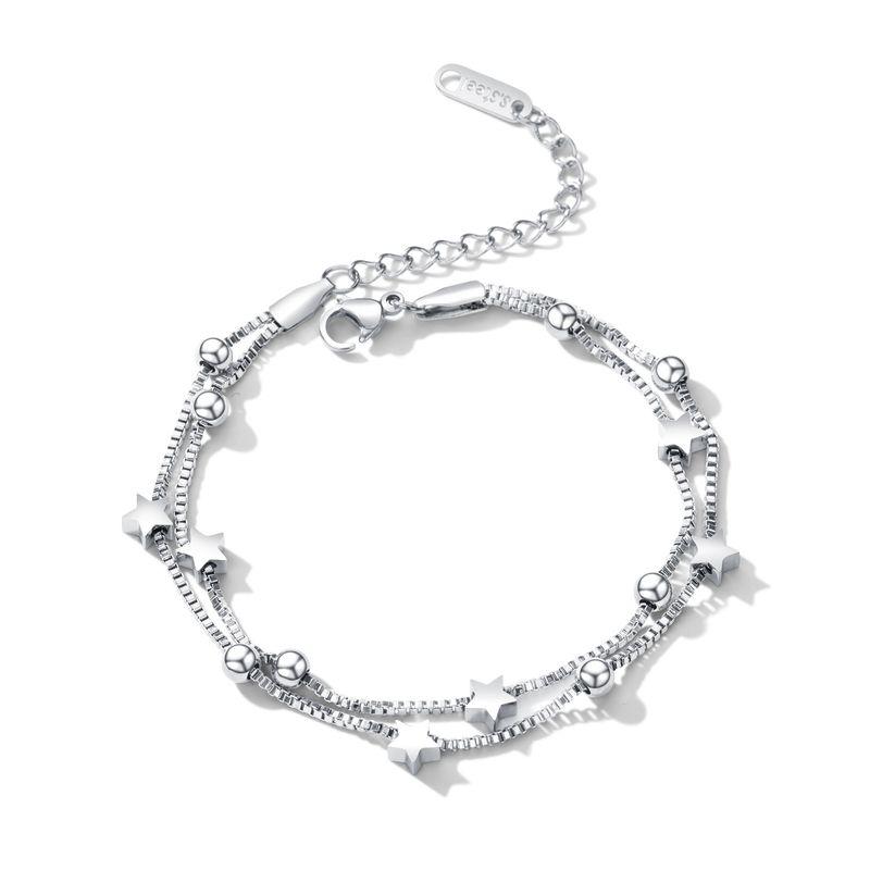 TitaniumStainless Steel Korea Geometric bracelet  Steel models NHOP2679Steelmodels