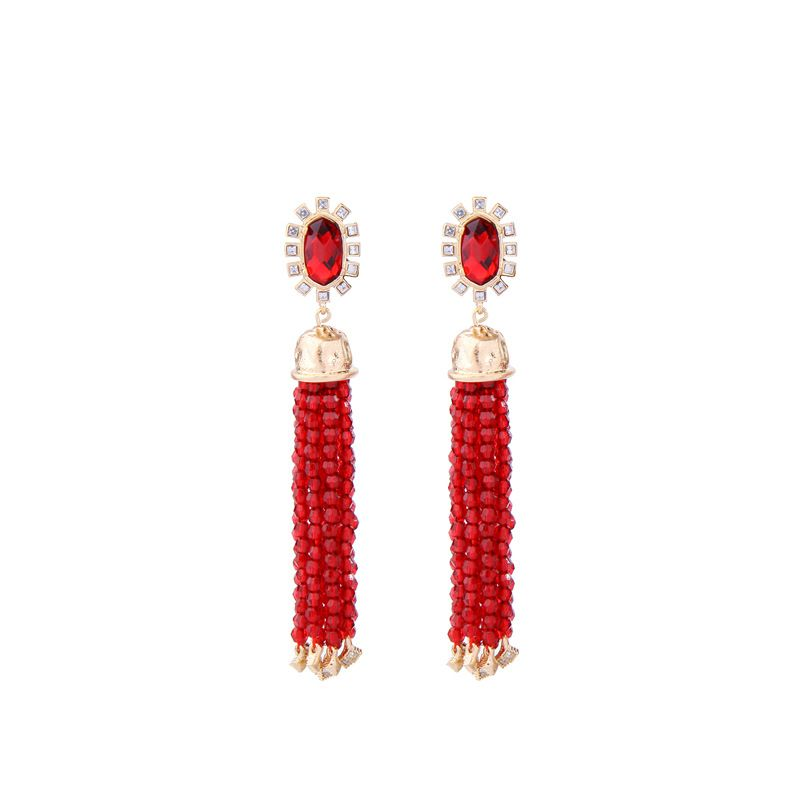 Alloy Fashion Tassel earring  Red1 NHQD5332Red1